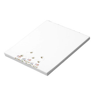 Cute Folk Art Bees Daisies Butterflies Notepad