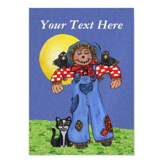 Cute Folk Art Blue Jeans Scarecrow Crows Halloween Magnetic Invitations