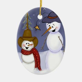 Cute Folk Art Cowboy Snowman Christmas Ornament