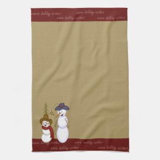 Cute Folk Art Cowboy Snowman Christmas Tea Towel