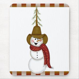 Cute Folk Art Cowboy Snowman Mouse Pad