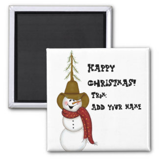 Cute Folk Art Cowboy Snowman Square Magnet