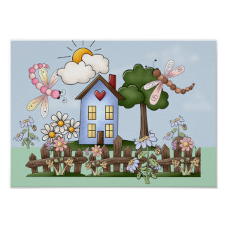 Cute Folk Country House and Picket Fence Art Poster