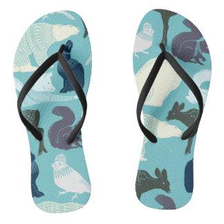Cute Forest Animals Pattern Flip Flops