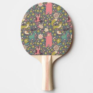 Cute Forest Animals Pattern Ping Pong Paddle