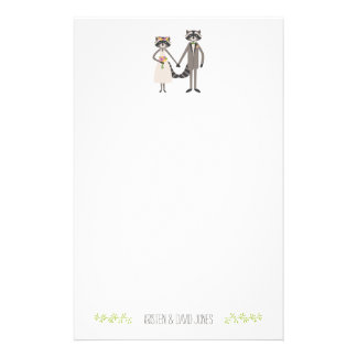 Cute Forest Raccoons Rustic Wedding Personalized Stationery
