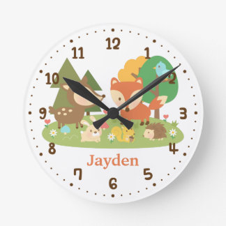 Cute Forest Woodland Animal Kids Room Decor Wallclocks