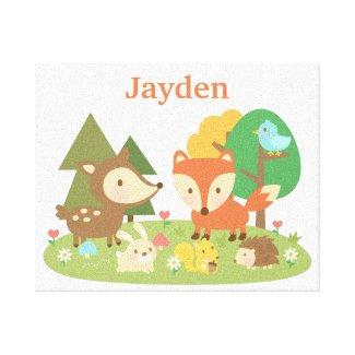 Cute Forest Woodland Animal Kids Wall Décor Canvas Print