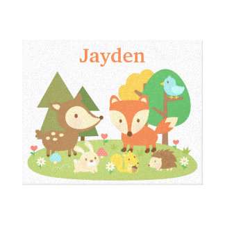 Cute Forest Woodland Animal Kids Wall Décor Stretched Canvas Print