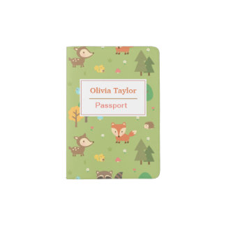 Cute Forest Woodland Animal Pattern For Kids Passport Holder