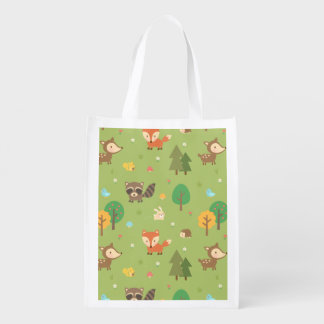 Cute Forest Woodland Animal Pattern For Kids Reusable Grocery Bag