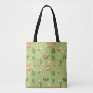 Cute Forest Woodland Animal Pattern Tote Bag