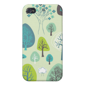 Cute forrest spring illustration pattern case cases for iPhone 4