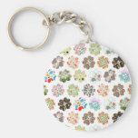 Cute four leaf clover heart shapes basic round button key ring
