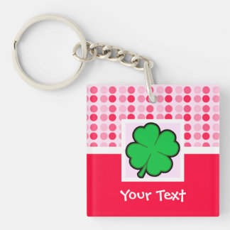 Cute Four Leaf Clover Square Acrylic Keychains