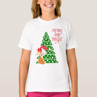 Cute Fox and Christmas Tree T-Shirt