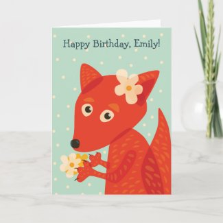Cute Fox And Flowers Happy Birthday Name Card