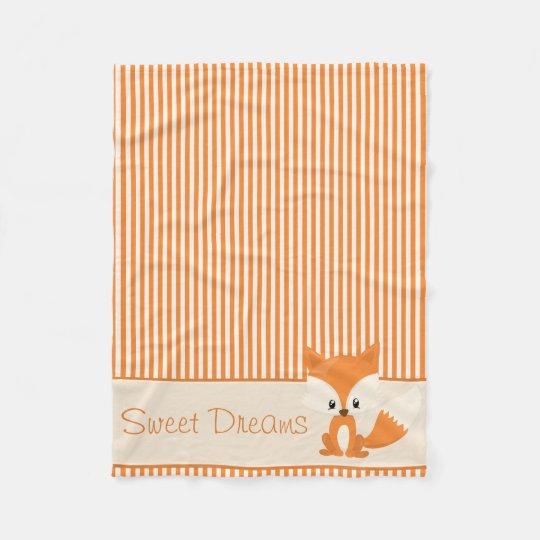 Cute Fox and Orange & Tan Stripes |