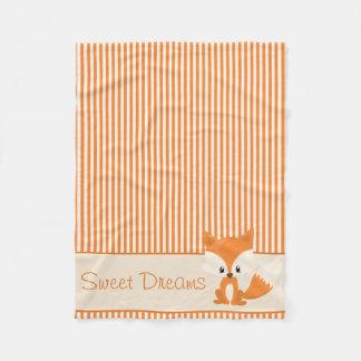Cute Fox and Orange & Tan Stripes   Personalized Fleece Blanket