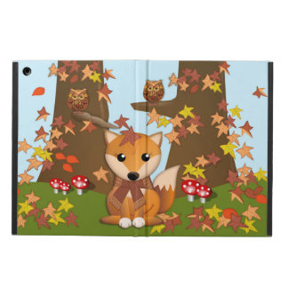 Cute fox and owl in autumn iPad air case