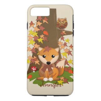 Cute fox and owl in autumn plus custom name iPhone 8 plus/7 plus case