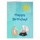 Cute Fox and Rabbit Illustration Happy Birthday Card