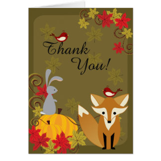 Cute Fox and Woodland Animals Autumn Thank You Card