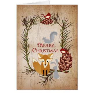 Cute Fox and Woodland Animals Merry Christmas Card