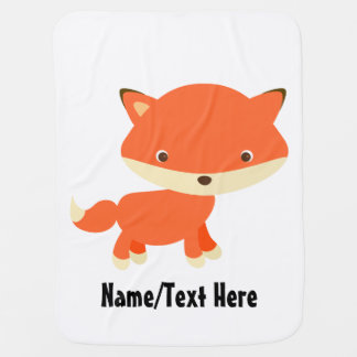 Cute Fox Baby Name Customize Baby Blanket