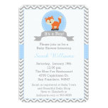 Cute Fox Baby Shower Invitation in Blue and Grey