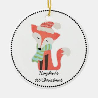 Cute Fox Baby's Christmas Winter Woodland Rustic Round Ceramic Decoration