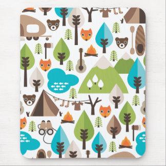 Cute fox bear camping kids mousepad