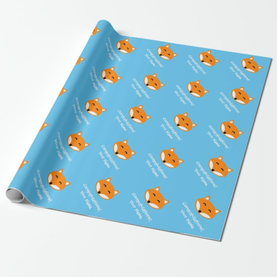 Cute fox Birthday wrapping paper for kids