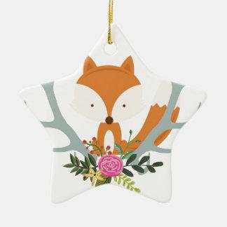 Cute Fox Ceramic Star Decoration
