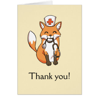 Cute Fox Drawing Thank You Card Nurse Doctor Carer
