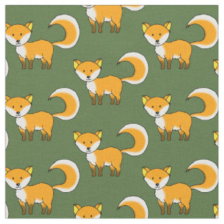 cute fox forest animal cartoon fabric