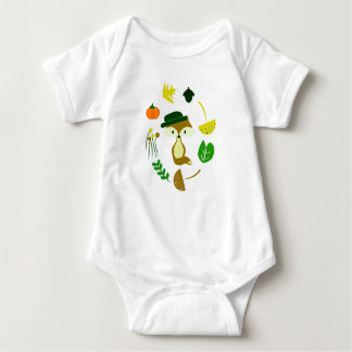 Cute fox in autumn baby bodysuit