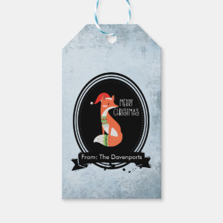 Cute Fox in Christmas Hat inside a Black Oval Gift Tags
