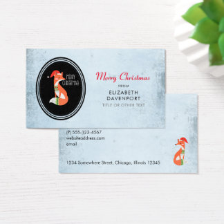 Cute Fox in Christmas Hat on Blue Vintage Backdrop Business Card