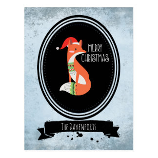 Cute Fox in Christmas Hat on Blue Vintage Backdrop Postcard