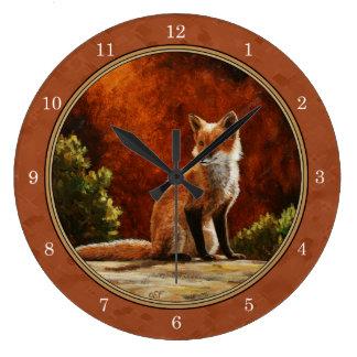 Cute Fox In The Sun Copper Red Large Clock