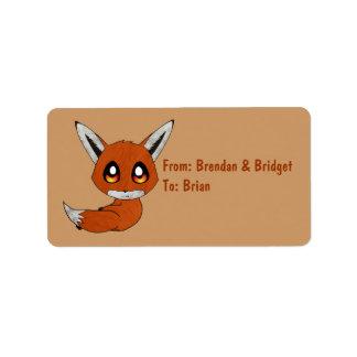cute fox label address label