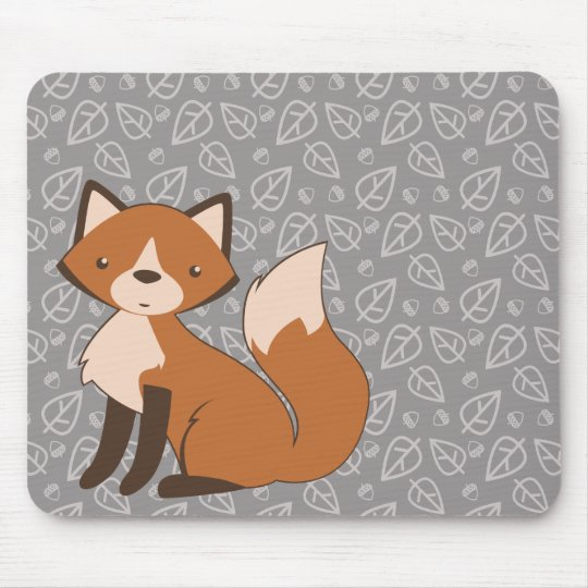 Cute Fox on Leaf and Acorn Pattern Mouse