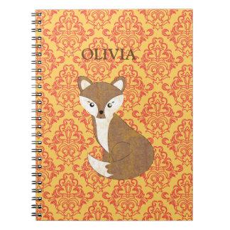 Cute Fox  on Orange Patterned Background Notebook