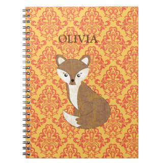 Cute Fox  on Orange Patterned Background Notebooks
