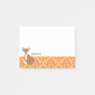 Cute Fox  on Orange Patterned Border Post-it Notes