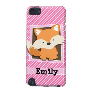 Cute Fox on Pink & White Stripes iPod Touch (5th Generation) Cover