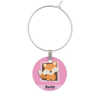 Cute Fox on Pink & White Stripes Wine Charm