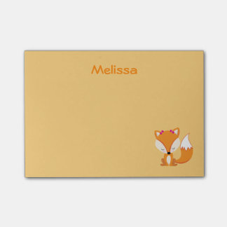 Cute fox personalise golden colour post-it notes
