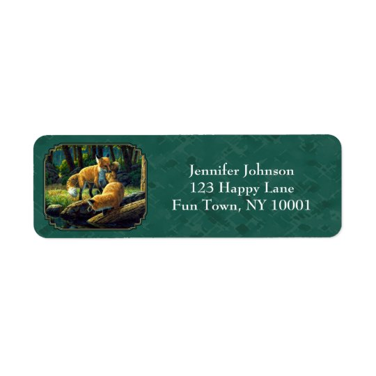 Cute Fox Pups Playing Forest Green Return Address Label